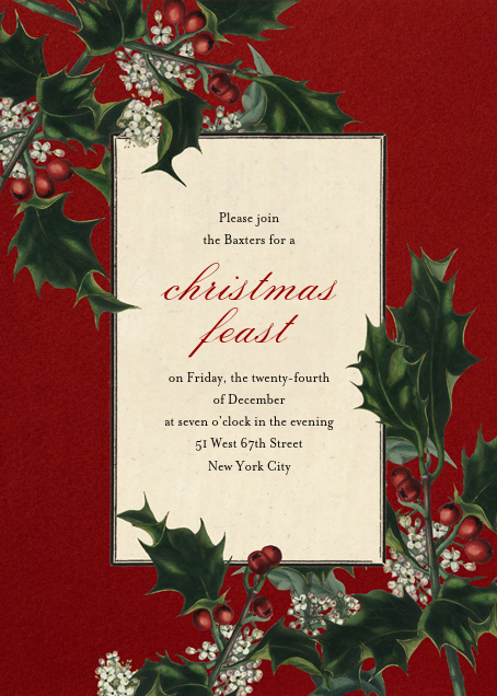 Branches de Houx (Tall) - John Derian - Holiday party invitations