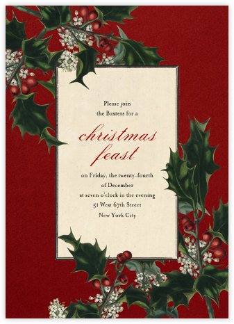 Branches de Houx (Tall) - John Derian - Christmas invitations