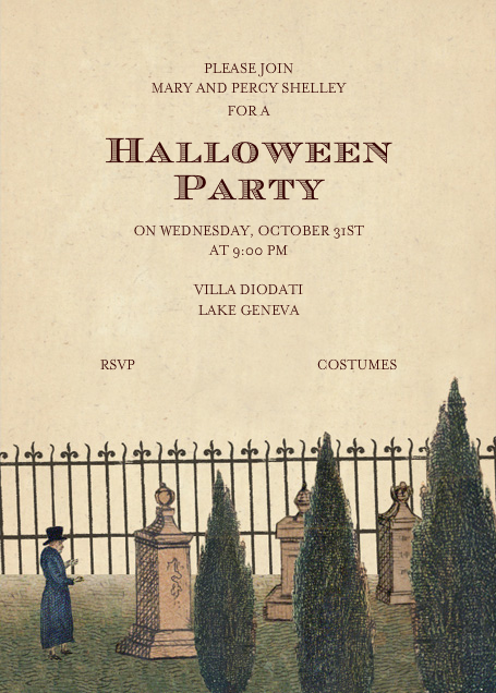 Graveyard Scene - John Derian - Halloween invitations