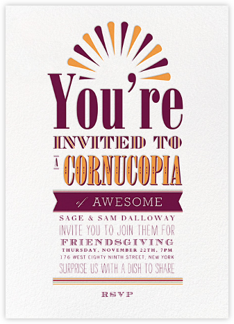 A Cornucopia of Awesome - Crate & Barrel - Thanksgiving invitations