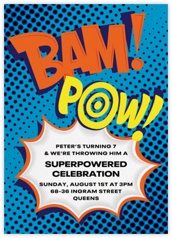 Bam Bam Pow - Blue - Paperless Post - Online Kids' Birthday Invitations