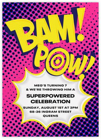 Bam Bam Pow - Pink - Paperless Post - Online Kids' Birthday Invitations