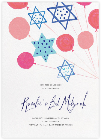 Balloon Mitzvah - Mr. Boddington's Studio - Bat and Bar Mitzvah Invitations