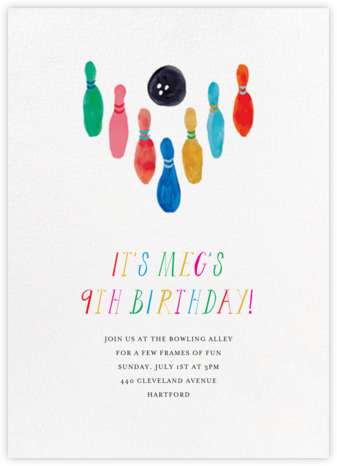 Hit the Pins - Mr. Boddington's Studio - Birthday invitations