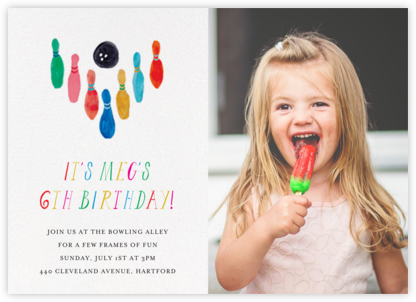 Hit the Pins (Photo) - Mr. Boddington's Studio - Kids' birthday invitations
