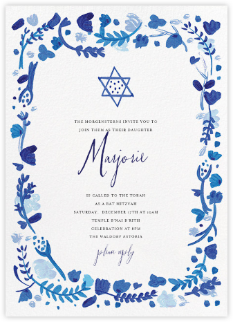 Hydrangeas and a Mitzvah - Blue - Mr. Boddington's Studio - Bat and Bar Mitzvah Invitations