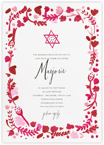 Hydrangeas and a Mitzvah - Cranberry - Mr. Boddington's Studio - Religious invitations