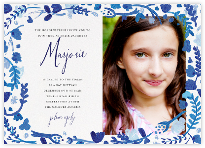 Hydrangeas and a Mitzvah (Photo) - Blue - Mr. Boddington's Studio - Bat and Bar Mitzvah Invitations