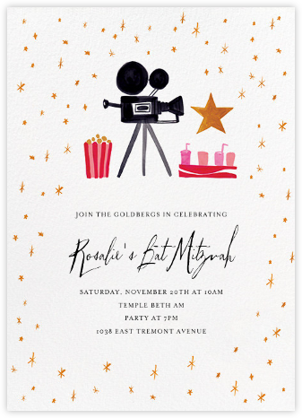 Movie Star for a Day - Mr. Boddington's Studio - Bat and Bar Mitzvah Invitations