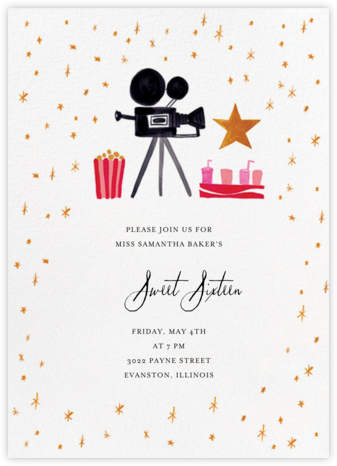 Movie Star for a Day - Mr. Boddington's Studio - Sweet 16 invitations