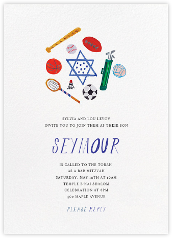 Sports Mitzvah - Mr. Boddington's Studio - Bar and Bat Mitzvah Invitations