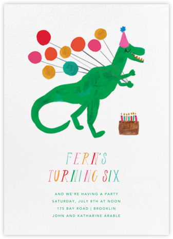 The T-Rex Is Eating My Cake - Mr. Boddington's Studio - Online Kids' Birthday Invitations