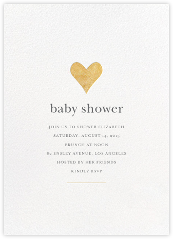 Luminous Heart - White/Gold - Sugar Paper - Online Baby Shower Invitations