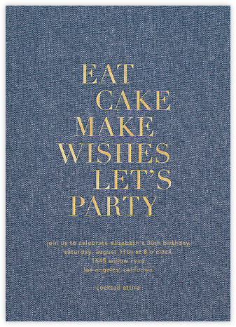 Eat Cake Make Wishes - Denim/Gold - Sugar Paper - Adult birthday invitations