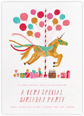 The Unicorn's Big Day - Mr. Boddington's Studio - Birthday invitations