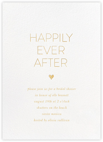 Ever After - White/Gold - Sugar Paper - Bridal shower invitations