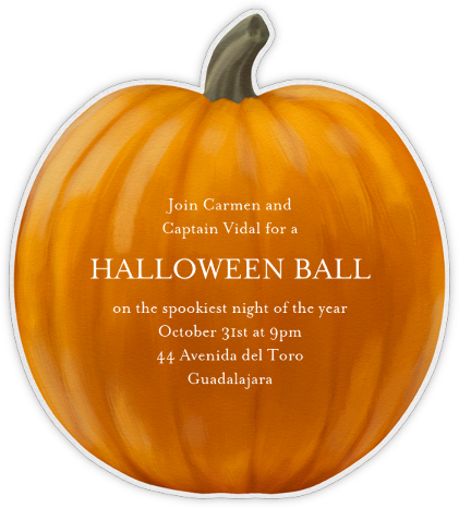 Handpainted Pumpkin - Paperless Post - Halloween invitations
