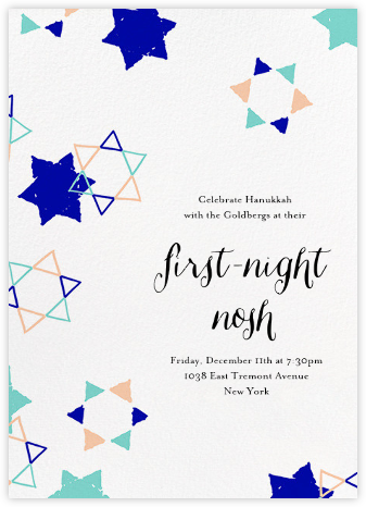 Star Shower - Indigo - Ashley G - Hanukkah Invitations