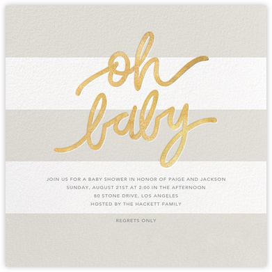 Oh Baby - Gray - Sugar Paper - Baby Shower Invitations