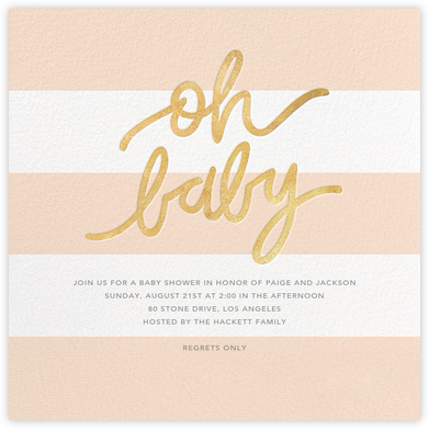 Oh Baby - Pink - Sugar Paper - Online Baby Shower Invitations