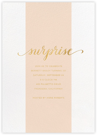 Surprise Stripe - Pink - Sugar Paper - Adult Birthday Invitations