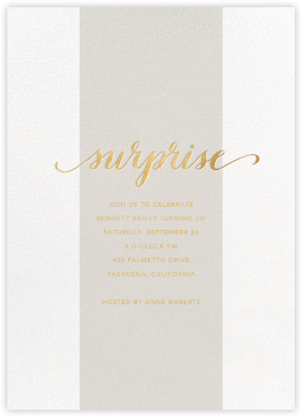 Surprise Stripe - Gray - Sugar Paper - Adult Birthday Invitations