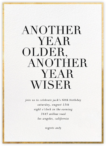 Older and Wiser - White - Sugar Paper - Milestone birthday invitations