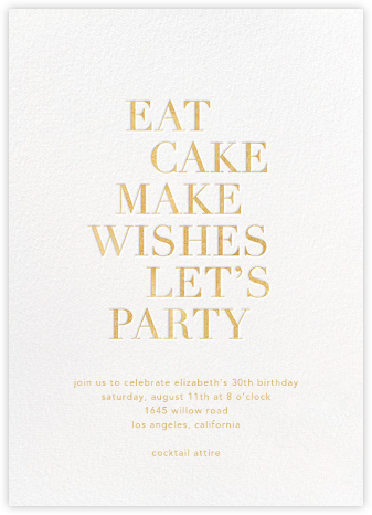 Eat Cake Make Wishes - White/Gold - Sugar Paper - Adult Birthday Invitations