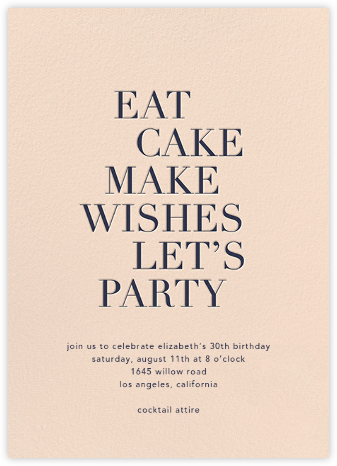 Eat Cake Make Wishes - Pink/Navy - Sugar Paper - Adult Birthday Invitations