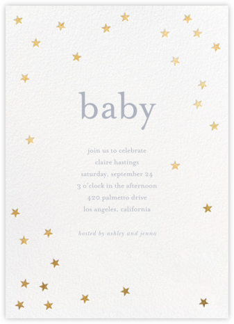 Scattered Stars - White/Gold - Sugar Paper - Online Baby Shower Invitations
