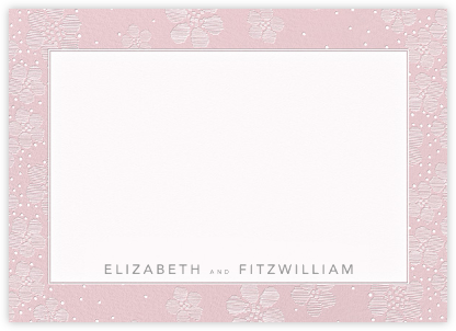 Blossoms on Tulle I (Thank You) - Pink - Oscar de la Renta - Stationery