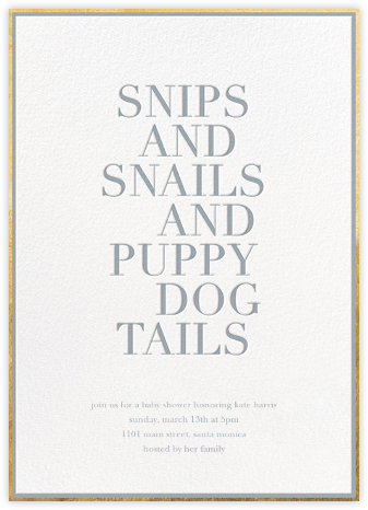 What Boys Are Made Of - Sugar Paper - Sugar Paper Invitations