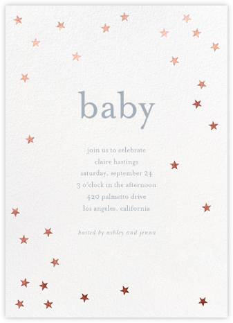 Scattered Stars - White/Rose Gold - Sugar Paper - Baby Shower Invitations