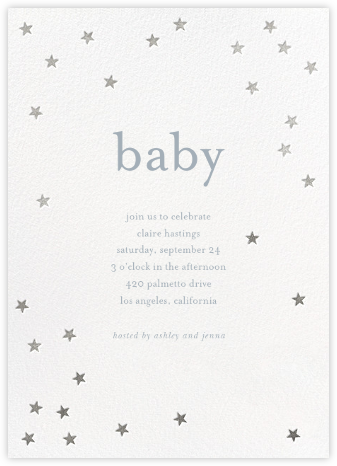 Scattered Stars - White/Silver - Sugar Paper - Baby Shower Invitations