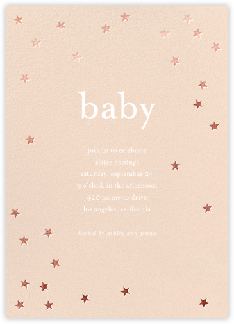 Scattered Stars - Pink/Rose Gold - Sugar Paper - Baby Shower Invitations