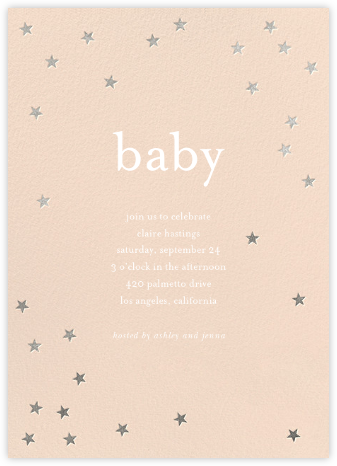 Scattered Stars - Pink/Silver - Sugar Paper - Baby Shower Invitations