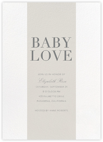 Baby Stripe - Gray - Sugar Paper - Baby Shower Invitations