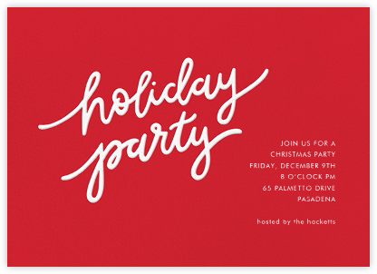 Holiday Script - Red/White - Sugar Paper - Professional party invitations and cards