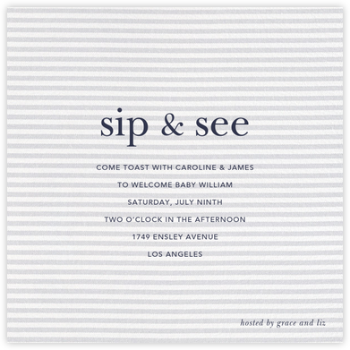 Slim Stripes - Sugar Paper - Sip and see invitations