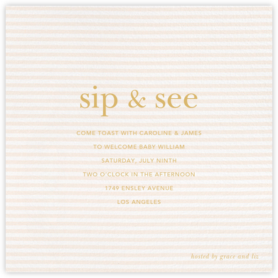 Slim Stripes - Pink - Sugar Paper - Sip and see invitations