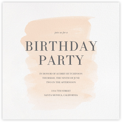 Basic Brushstroke - Bellini - Sugar Paper - Adult Birthday Invitations