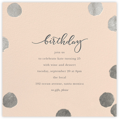 Big Dot Birthday - Pink/Silver - Sugar Paper - Adult Birthday Invitations