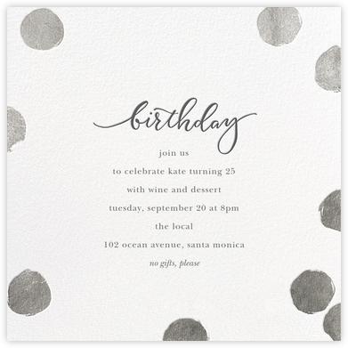 Big Dot Birthday - White/Silver - Sugar Paper - Adult Birthday Invitations