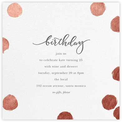 Big Dot Birthday - White/Rose Gold - Sugar Paper - Adult Birthday Invitations