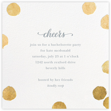Big Dot Cheers - Gold - Sugar Paper - Bachelorette Party Invitations