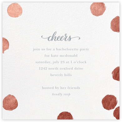 Big Dot Cheers - Rose Gold - Sugar Paper - Bachelorette Party Invitations