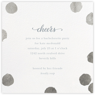 Big Dot Cheers - Silver - Sugar Paper - Bachelorette party invitations