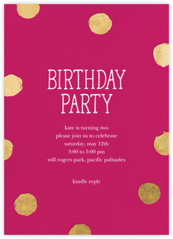 Big Dot Birthday (Tall) - Dragonfruit - Sugar Paper - Online Kids' Birthday Invitations