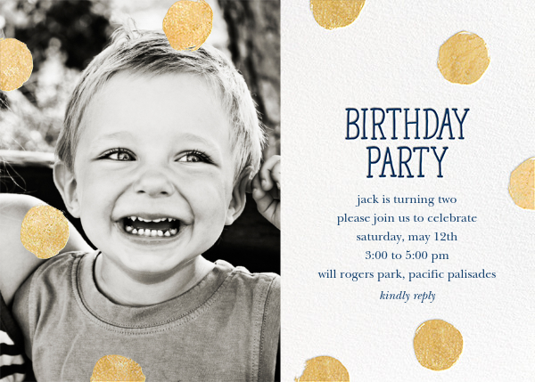 Big Dot Birthday (Photo) - Dark Blue - Sugar Paper - Invitations