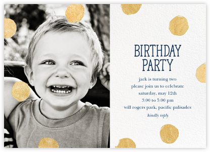 Big Dot Birthday (Photo) - Dark Blue - Sugar Paper - Invitations